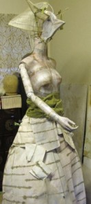 """life size. standing surrealistic marionette sculpture. """"Femme-oiseau #1"""" all rights reserved 2012."""
