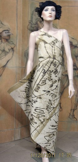 silk dress with Jacques Prevert poem: pour toi mon amour